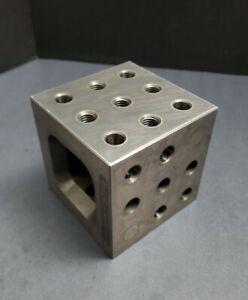 "TE-CO / QU-CO 4x4x4"" Fixturing Block Machinist Cube Set Up Angle Plate Modular"