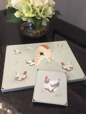 Laura Ashley CHICKENS 4x Placemats & 4x Coasters Set - FREE SHIPPING