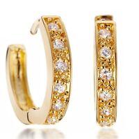 Women's 18K Yellow Gold Filled Hoop  Crystal Huggie Earrings 068USANNA