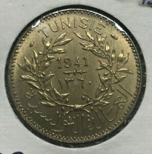 1941 Tunisia 2 Francs - Uncirculated