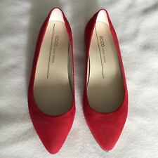 Ecco Women's Red Suede Pointy Ballerina Shoes Size 36