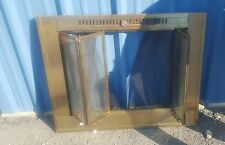 Vtg Brass Fireplace Screen Glass Accordion/Bifold Door