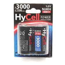 2x HyCell NiMH Akku Mono D Typ 3000mAh (min. 2500mAh) HR20 5035312
