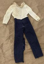 Vintage Barbie Clothes Mod Era Barbie Poncho Put-On Jumpsuit Navy Pinstripe Read