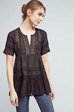 NEW ANTHROPOLOGIE Tiered Lace Tunic Blouse XS by Maeve Black