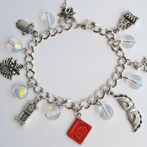Labyrinth Charm Bracelet with Crystal Balls Red Book Owl Worm Mask Clock Baby