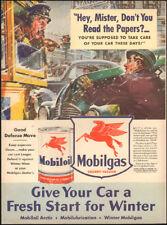 1941 Vintage for Mobiloil Socony-Vaccuum`art retro Car green Snow Bus  (011418)