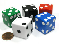 Set of 5 Jumbo Large Six Sided Square Opaque 25mm D6 Dice - 5 Assorted Colors
