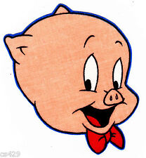 "4"" Looney tunes porky pig sideways face fabric applique iron on character"