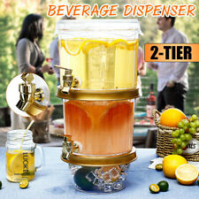 2 Tier Clear Cold Drink Tea Juice Dispenser Iced Beverage Holder Home Party