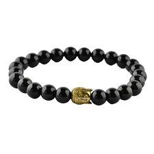 Stainless Steel Buddha Gold Color Plated 8mm Black Onyx Beaded Elastic Bracelet