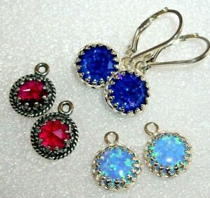EXQUISITE 925 STERLING SILVER EARRINGS COLLECTION -OPAL, RUBY, AUSTRIAN CRYSTAL