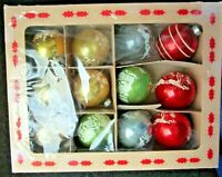 """True Vintage~Lot/12~Christmas Glass Ornaments~All Stamped """"Made In USA""""~Boxed"""