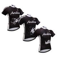 Men's Black Cycling Jersey Full Zip Short Sleeve Biking Jersey Shirts S-5XL