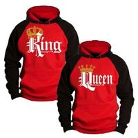 Fashion Men Women Hoodie Couple Sweater King Queen Lover Matching Hoo RD