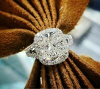 Solid 3.00 Ct Cushion Cut Diamond Halo Engagement Ring 14K White Gold Over