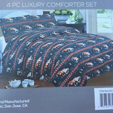 Southwest running horse design 4 piece comforter set king size