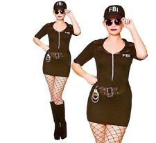 Ladies 10-12 FBI Frisky Body Inspector Agent Police Hen Fancy Dress Costume