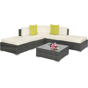 Alu Poly Rattan Sitzgruppe Lounge Garnitur Couch Eck Sofa Tisch Grau B-Ware