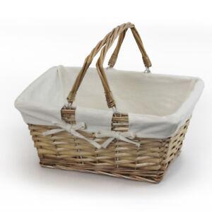 JVL Buff Split Willow Shopping Storage Basket with Cream Lining