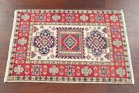 Decorative Handmade IVORY/RED Super Kazak Area Rug Geometric Kitchen Wool 2'x3'