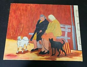 Outsider Art Oil Painting On Canvas Women on Bench With Pets