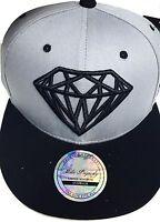 Diamond snapback caps, mens, ladies flat peak baseball hats, bling hip hop grey