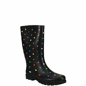 Sugar Womens Rubber Tall Mid Calf Rain Boots Black Polka Dot Print Size 10