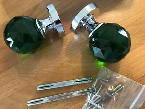 Green Glass Faceted Mortice Knob with a Polished Chrome Rose