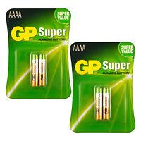 4 x GP Alkaline Super AAAA batteries LR8D425 1.5V MX2500 LR61 Pack of 2