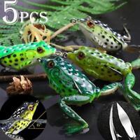 5pcs Large Frog Topwater Soft Fishing Lures Bait Bass Crankbaits 5.5cm/15g