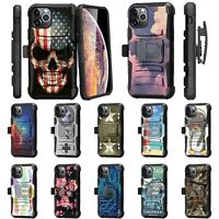 For Apple iPhone 11 PRO (5.8) Rugged Armor Kickstand Holster Belt Clip Case