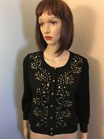 ALFANI Womens Sz M Black EMBELLISHED CARDIGAN SWEATER Brass Look Beads Lined