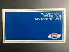 1974 Chevrolet Color Chart & Features Showroom Sales Folder / Brochure RARE