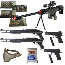 5 Gun Airsoft Package: Sniper + 2 Shotguns + 2 Pistols + Mask + BBS + 20 TARGETS