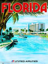 Florida by Airplane United States America Vintage Travel Advertisement Poster