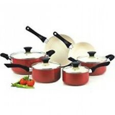 Nonstick Cookware Set Kitchen Ceramic Coating Red PTFE Free PFOA Free Durable