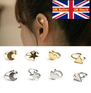 Star moon heart triangle ear cuff clip piercing free silver gold gift UK top