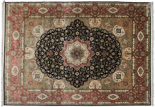 100% Natural Silk Rare Exceptional Tabrizz 9x12 Rug Handmade Fine Area Rug Black