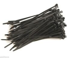 NEW 200 BLACK PLASTIC CABLE TIES, 4.8mm x 250mm NYLON ZIP TIE WRAP HIGH QUALITY
