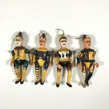 Antique/Vintage Christmas Ornaments - Lot of 4 Pierrot Jointed Ornaments French