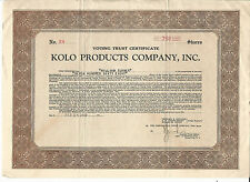 NEW YORK Kolo Products Co Stock Certificate 1928 #28 Industrial Detergents