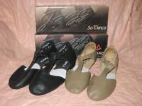 NEW SoDANCA Adult LEATHER GRECIAN SANDAL JAZZ SHOES MDO3 BLACK OR TAN FULL SOLE