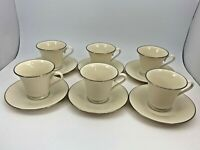 Lenox Special Pattern Set 6 Footed Cups & Saucers Ivory Platinum Trim Made USA