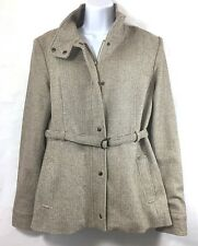 IDENTIFY Womens 12 Tan Blazer Jacket Zip Snap Front Belt Houndstooth Wool Blend