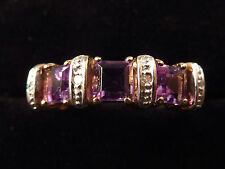 TRIPLE SQUARE AMETHYST 9ct GOLD RING, UK O.5, US 7.5