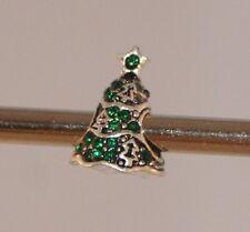 GREEN DIAMANTE CHRISTMAS TREE Silver European Charm