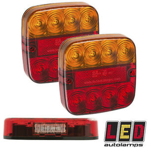 LED Autolamps 99ARL2 Square Rear Trailer Lights - With 2 Number Plate LEDs