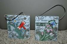 NEW-Set of 2 Butterfly 3-D Butterfly Dragonfly Hanging Garden Stones 5x6