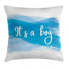 Gender Reveal Throw Pillow Case It's Boy Abstract Square Cushion Cover 18 Inches